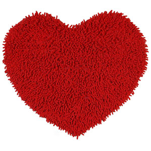 Red Shagadelic Chenille Twist 20-Inch x 24-Inch Heart Rug
