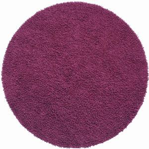 Shagadelic Chenille Shag Purple Round: 5 Ft. x 5 Ft. Rug