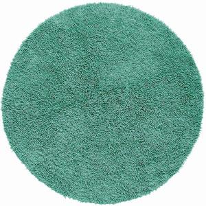 Shagadelic Chenille Shag Aqua Round: 5 Ft. x 5 Ft. Rug