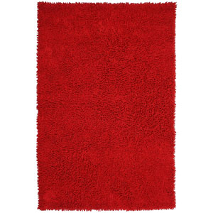 Shagadelic Red Chenille Twist Rectangular: 4 Ft. x 6 Ft. Rug
