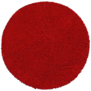 Shagadelic Red Chenille Twist Round: 5 Ft. Rug