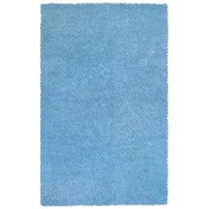 Blue Soft Chenille Shag Rectangular: 4 Ft. x 6 Ft. Rug