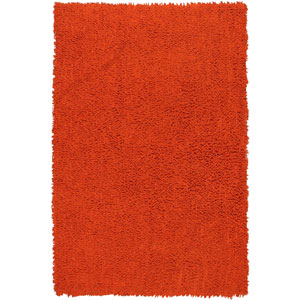 Shagadelic Orange Chenille Twist Rectangular: 4 Ft. x 6 Ft. Rug
