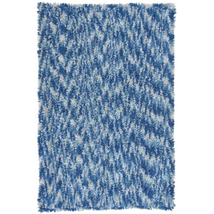 Shagadelic Blue Chenille Swirl Twist Rectangular: 4 Ft. x 6 Ft. Rug