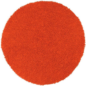 Shagadelic Orange Chenille Twist Round: 5 Ft. x 5 Ft. Rug
