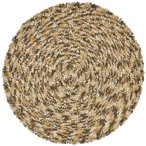 Shagadelic Brown Chenille Swirl Twist Round: 3 Ft. x 3 Ft. Rug