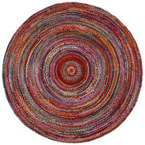 Brilliant Ribbon Multicolor Round: 3 Ft Rug