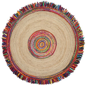 Brilliant Ribbon / Hemp Round Racetrack Round: 3 Ft. Rug