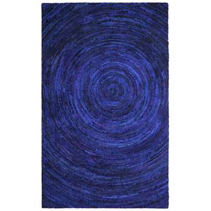 Brilliant Ribbon Blue Hurricane Rectangular: 4 Ft. x 6 Ft. Rug
