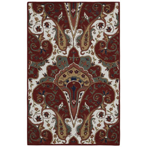 Structure Red Paisley Wave Rectangular: 4 Ft x 6 Ft Rug