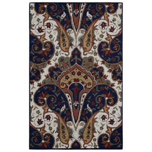 Structure Blue Paisley Wave Rectangular: 4 Ft x 6 Ft Rug