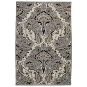 Structure Grey Paisley Wave Rectangular: 4 Ft x 6 Ft Rug
