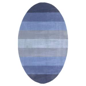 Blue Strpes Blue Oval: 5 Ft. x 8 Ft. Rug