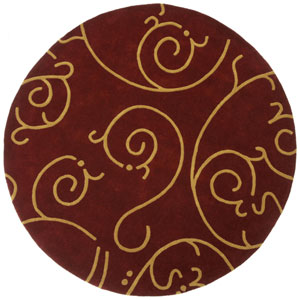 Structure Archer Burgundy/Gold Round: 6 Ft. x 6 Ft. Rug