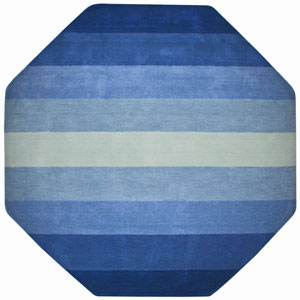 Aspect Blue Stripes Hand Tufted Octagon: 6 Ft. x 6 Ft. Rug