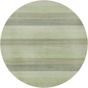 Green Stripes Round: 6 Ft. Rug
