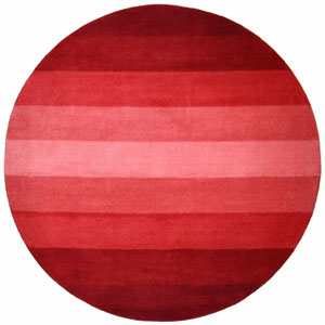 Aspect Red Stripes Hand Tufted Round: 6 Ft. x 6 Ft. Rug