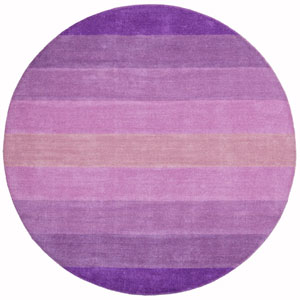 Aspect Purple Stripes Hand Tufted Round: 6 Ft. x 6 Ft. Rug