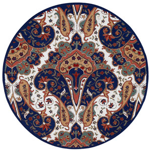 Structure Blue Paisley Wave Round: 6 Ft Rug