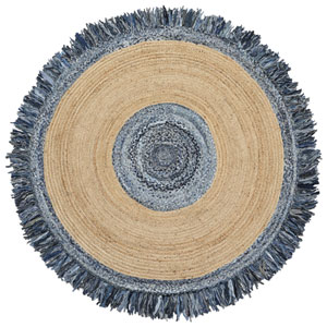 Blue Jeans Denim / Hemp Round Racktrack Round: 3 Ft. Rug