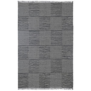 Earth First Black Jeans Squares Rectangular: 4 Ft x 6 Ft Rug
