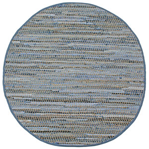 Earth First Blue Jeans Denim and Hemp Round: 5 Ft. x 5 Ft. Rug