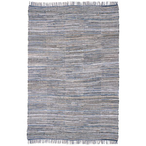 Blue Jeans and Hemp Checkered Rectangular: 5 Ft. x 8 Ft. Rug