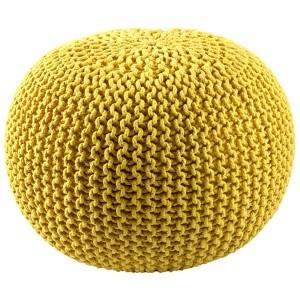 Yellow Cotton Rope Pouf Ottoman