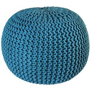 Blue Cotton Rope Pouf Ottoman