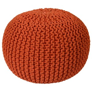 Orange Cotton Rope Pouf Ottoman