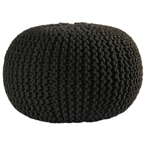 Black Cotton Rope Pouf Ottoman