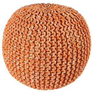 Orange Two-Tone Cotton Rope Pouf