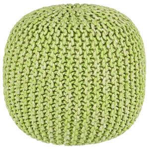 Green Two-Tone Cotton Rope Pouf