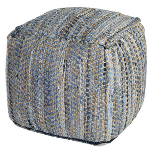Blue Jeans Denim and Hemp 26 In. Pouf