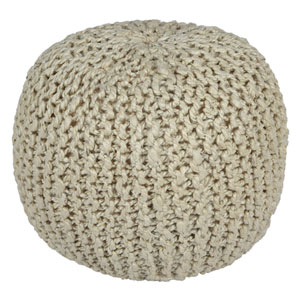 Bleached Jute and Hemp 18 In. Rope Pouf