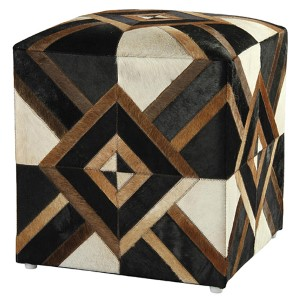 Black Leather Diamond Hide Pouf Ottoman