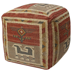 Red Tribal Jute and Wool Pouf