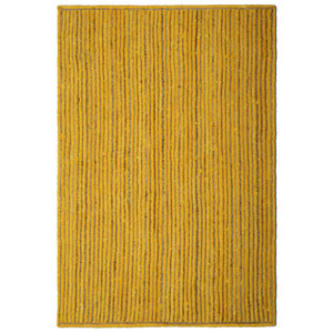 Natural Jute and Yellow Cotton Racetrack Rectangular: 21 x 34 In. Rug