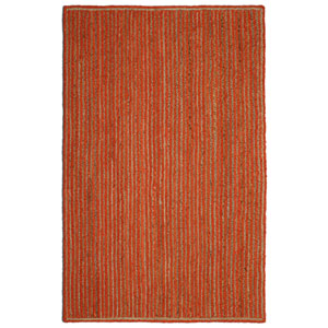 Natural Jute and Orange Cotton Racetrack Rectangular: 21 x 34 In. Rug
