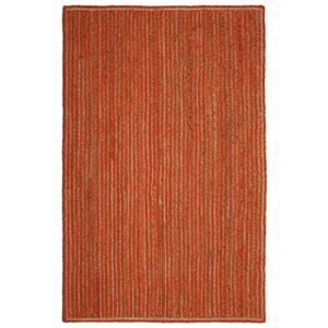 Natural Jute and Orange Cotton Racetrack Rectangular: 30 x 50 In. Rug