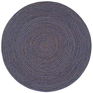 Earth First Blue Racetrack Round: 3 Ft Rug