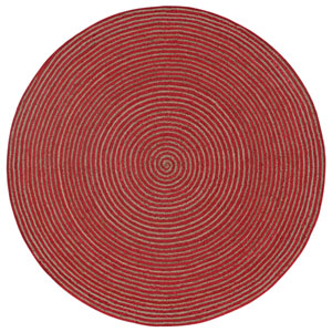 Earth First Red Racetrack Round: 3 Ft Rug