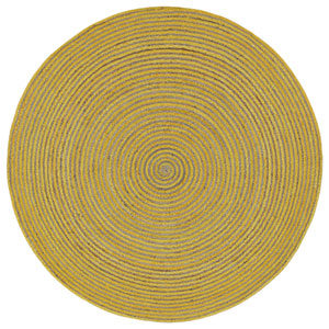 Earth First Yellow Racetrack Round: 3 Ft Rug