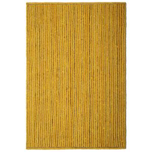 Natural Jute and Yellow Cotton Racetrack Rectangular: 4 Ft. x 6 Ft. Rug