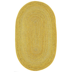 Earth First Yellow Racetrack Oval: 4 Ft x 6 Ft Rug