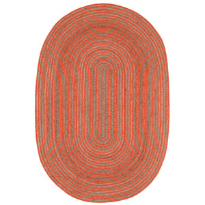 Earth First Orange Racetrack Oval: 4 Ft x 6 Ft Rug
