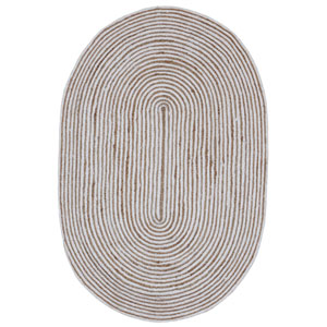 Earth First White Racetrack Oval: 4 Ft x 6 Ft Rug