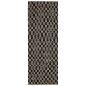 Earth First Brown Squares Runner: 2 Ft 6 In x 12 Ft Rug