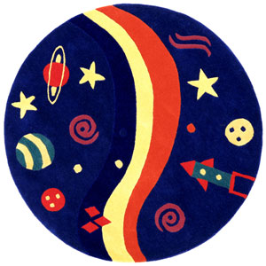 Playful Space Explorer Round: 5 Ft. x 5 Ft. Rug