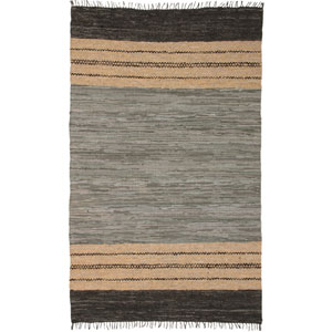 Matador Leather Chindi Gray Rectangular: 8 Ft. x 10 Ft. Rug